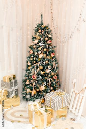 Metallic Christmas Tree Decorations.Luxury New Year Decor Beige Light Pink Golden Silver