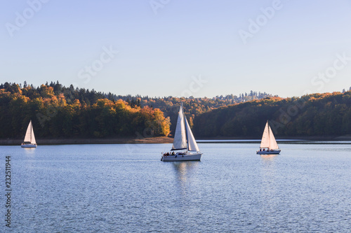 Three sailboats sailing on the alke surrounded by hills grown with forest trees