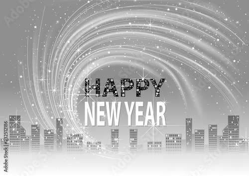 Grayscale Happy New Year Background with City Skyline and Lightning Glittering E Canvas Print
