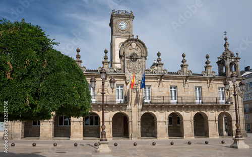 Panoramic image of the historic townhall of Lugo on a cloudy day, Camino de Santiago trail, Calicia, Spain