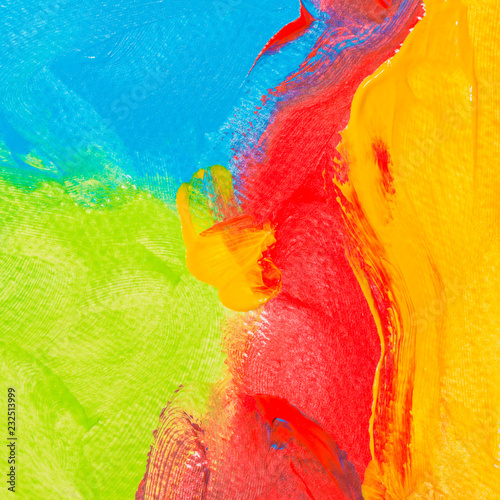 Photo  Fragment of artwork or art colorful background of yellow, red, blue and light gr