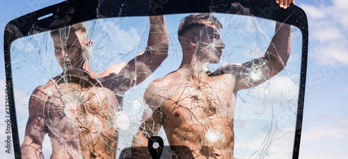 Athletic and handsome  Twins athletes show muscular strength