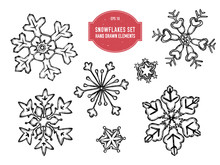 Vector Collection Of Hand Drawn Snowflakes