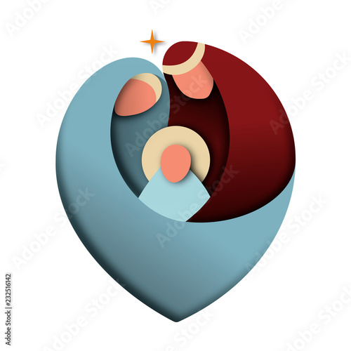 Stampa su Tela Isolated holy family cutout of christian christmas