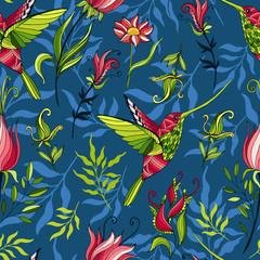 FototapetaHummingbirds and flowers blue pattern