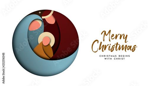 Fotografia Christmas paper cut card for christian celebration