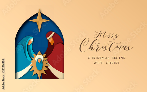 Christmas paper cut card of jesus and holy family Wallpaper Mural