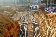 Power Cables On The Ground At The Construction Site