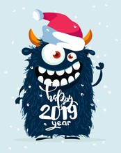 Happy New 2019 Year Funny Poster With Cute Monster. Vector Illustration