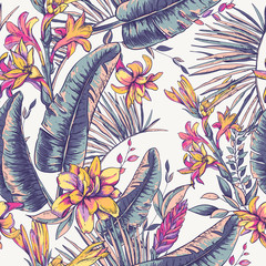 Panel Szklany Podświetlane Vintage Vector seamless pattern of tropical leaves, Exotic natura backgr