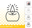Candle Flame black line fire light vector icon