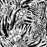 Vector monochrome seamless pattern of tropical leaves - 232525195
