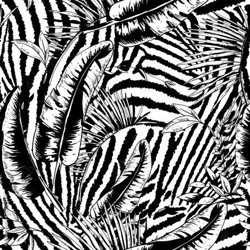 Leinwandbilder - Vector seamless pattern of tropical leaves, Exotic natural backgraund