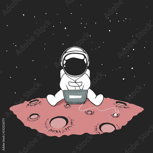 Fotografia Cute an astronaut sits in internet and listens to music on a computer in outer space on planet