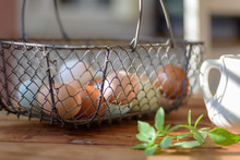 Closeup Of Rustic Wire Basket Of Fresh Eggs On The Table