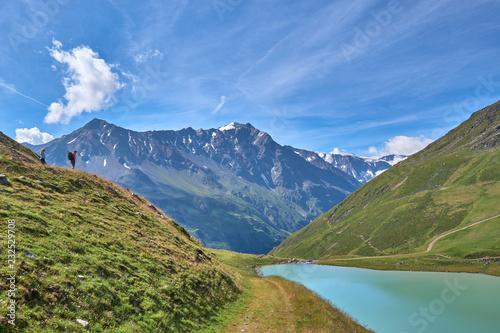 Deurstickers Dam Glacial lake Rifflsee. Austrian Alps. Tyrol