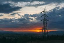 Electrical Pylon At Sunset