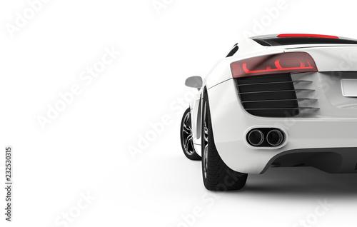 Fototapeta Back view of a generic and brandless modern car on a white background obraz