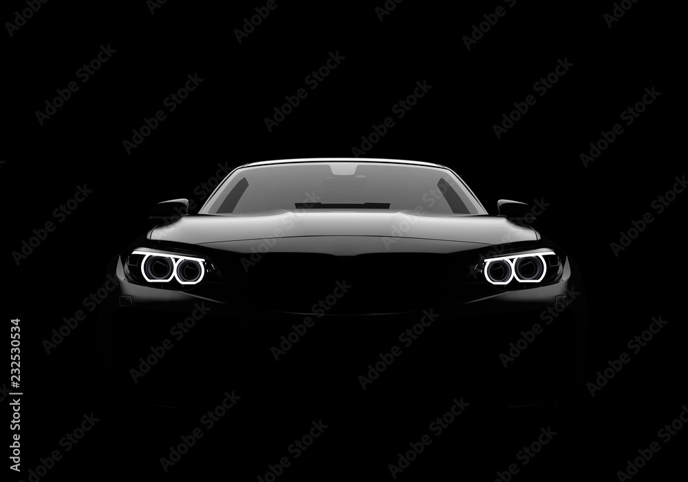Fototapeta Front view of a generic and brandless modern car on a black background - obraz na płótnie