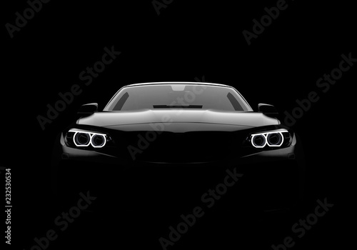 Fotografering Front view of a generic and brandless modern car on a black background