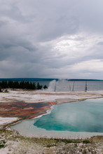 Teal Geothermal Lake At Yellowstone