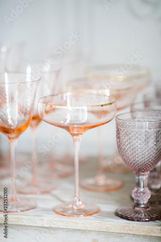 Wineglasses on table