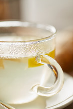 Transparent Glass Of Hot Tea With Lemon, Honey And Ginger Root I