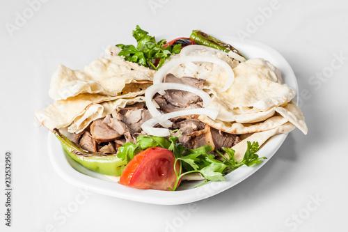 Traditional Turkish Food Lavash, Kebab on Plate