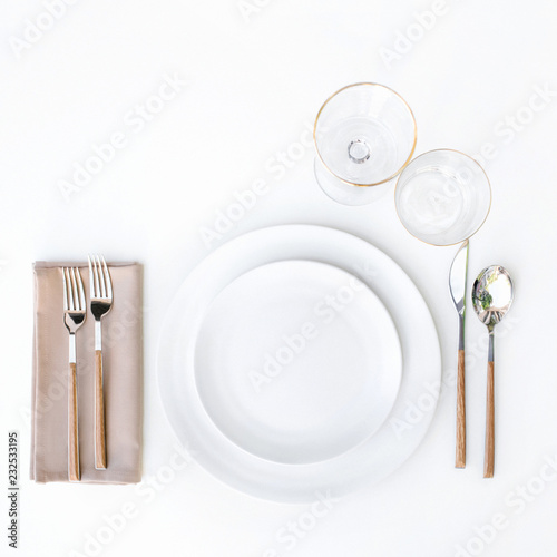 Top view of sophisticated table setting