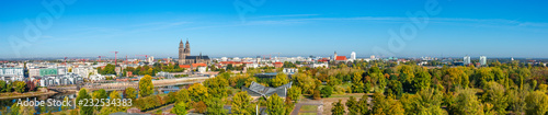 Panoramic bird view of river Elbe, old and new town, parks in Magdeburg, Germany, late Autumn - 232534383