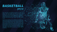 Basketball Of The Particles. A Silhouette Of A Basketball Player Consists Of Circles And Points. Vector Illustration