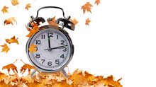 Autumn Time Clock And Leaves I...