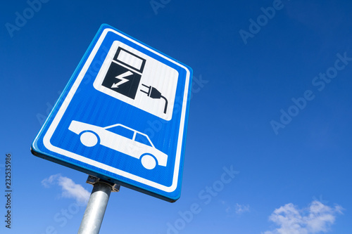 Dutch road sign: electric vehicle charging station