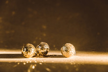 Small Golden Christmas Balls