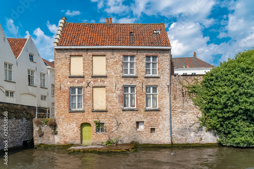 Bruges in Belgium, beautiful typical houses on the canal