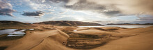 Sunset Above Wandering Dunes Of Khar Nuur Lake, Mongolia