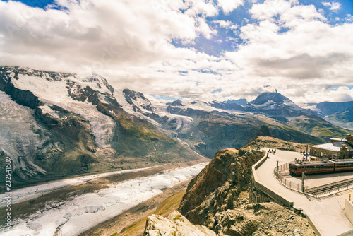 Mountainscape with observation deck and train station, Zermatt, Valais, Switzerland