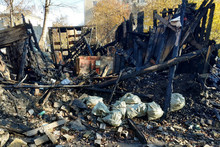 Burned Down House, Remnants Of Burned Down, Destroyed House, After A Fire