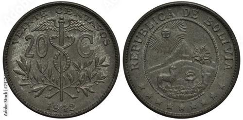 Fotografia  Bolivia Bolivian coin 20 twenty centavos 1942, caduceus divides denomination, ol