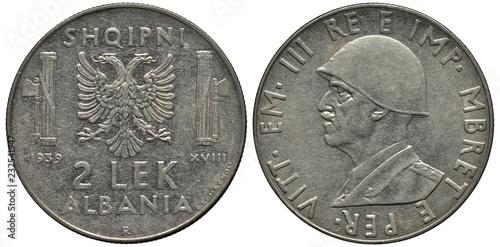 Fotografia  Albania Albanian coin 2 two lek 1939, Italian occupation, bust of King Vittorio
