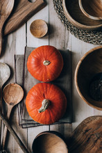 Overhead View Of Pumpkin On Wooden Table