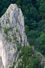 Climbers On The Rock Of Cukrova Homola, Zadielska Valley, Slovak Karst, Slovakia