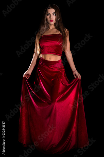 Fotografering  Woman in a red dress