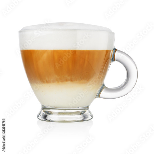 Foto Cup of cappuccino on white