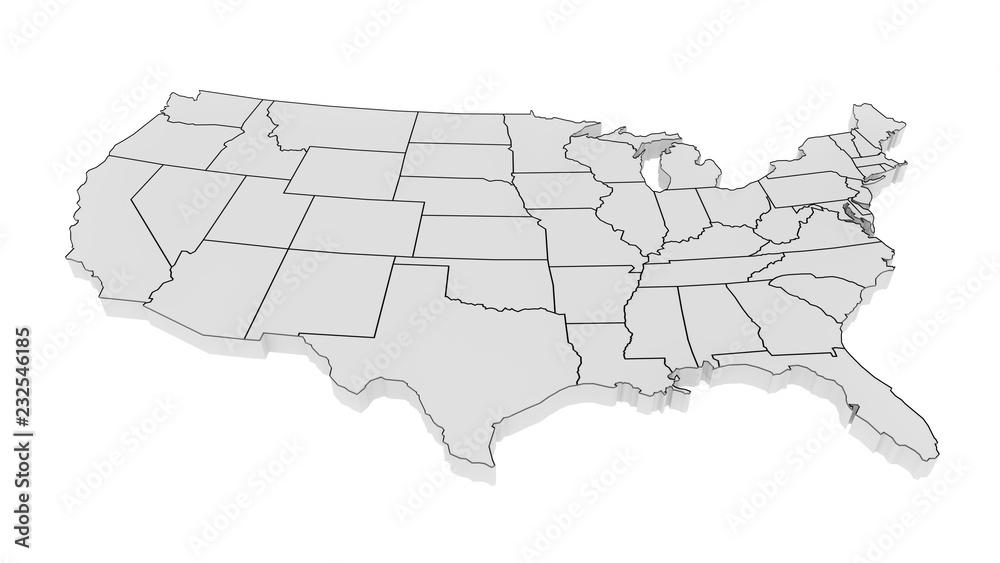 Fototapeta United States of America gray 3D minimalist map