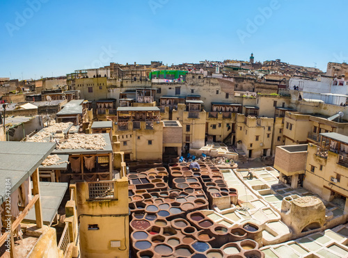 Tanneries of Fes Old tanks with color paint for leather. Morocco Africa