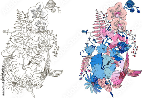 Printed kitchen splashbacks Watercolor skull Abstract flower feather in zentangle style for coloring book, tattoo, shirt design, logo, sign. Stylized illustration of feather with orchids, hibiscus and hummingbird in tangle doodle style. Colorles