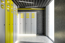 Gray And Yellow Locker Room In...