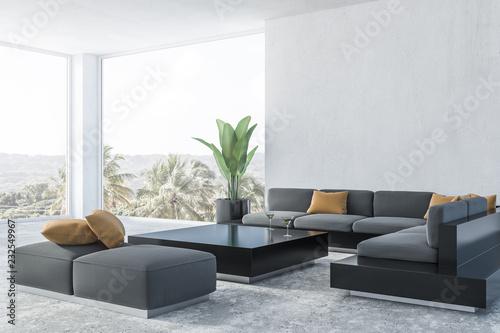Obraz White living room corner, gray sofa - fototapety do salonu
