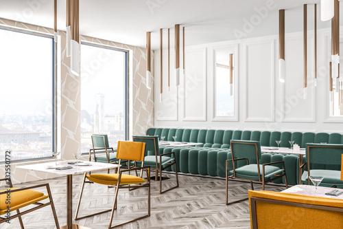 White loft restaurant corner green sofa, chairs